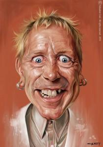 Caricatura de Johnny rotten, por Sebastian Cast (2013)